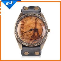 New 2014 montre femme Leather Strap Paris Watch Vintage Retro Eiffel Tower Watches reloj Woman Man Casual Quartz Watch relogio