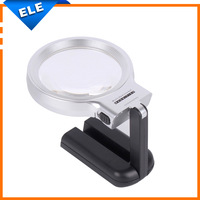 Desktop Multifunctional Adjustable LED Magnifier With 2 Lamps Hand-hold Illuminated 3x60mm Loupe For Reading