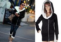Drop Shipping 2014 Winter Women Hoodie Coat Zip Up Outerwear Warm Jackets/Coats for Women Sport Sweatshirt Hat Thickening Fur