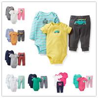 Carter's Original Baby Bodysuit Jumpsuit Pants 3pcs Set 100% Cotton Baby Clothing Caters Baby Boy Girl Newborn Baby Bodysuits