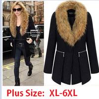 Luxury Fur Collar Plus Size Wool Coat  Brand Design Women Black  woollen Outerwear XL-6XL Women Overcoat Free shipping P65H99