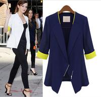 Plus size blazer new 2014 spring thin outerwear fashion coat women slim jacket white blue jackets free shipping