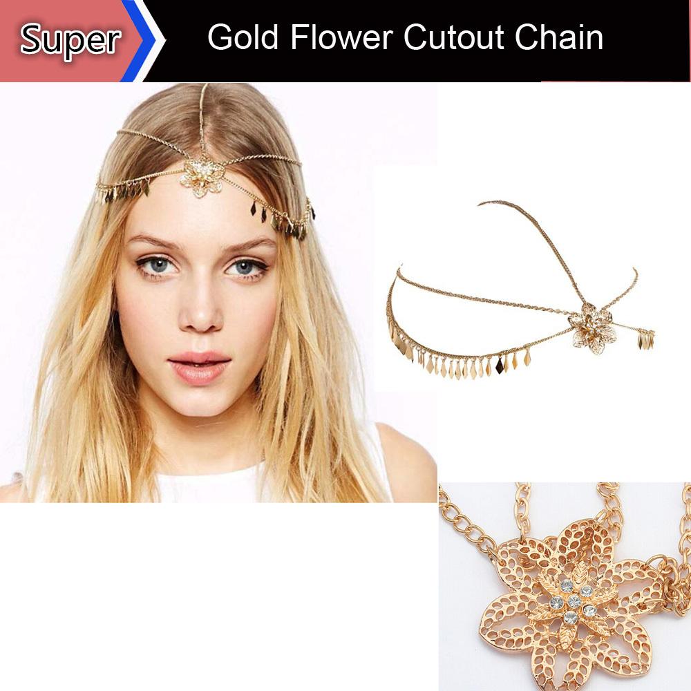 Women Hairwear Hairbands Luxury Gold Flower Cutout Chain Crown Headband Forehead Jewelry Head Chain Hair Accessories Jewelry(China (Mainland))