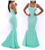 Stylish Skyblue Ladies Dress Women Bodycon Maxi Midi Dress Evening Party Prom Club Dress 655787