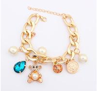 Lovely Bear Pendant Gold Charm Bracelet Fashion Statement Bracelets Bangles CB905898