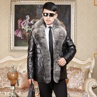 2014 Luxury Fashion Men's Huge Natural Sliver Fox Fur Collar Genuine Sheepskin Leather Down Coat Winter Real Leather Man Jacket