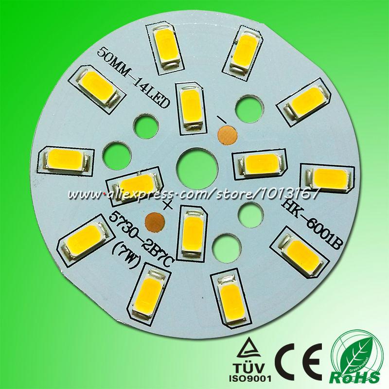 50mm 7W High Power LED PCB Board 21-24V 300mA 14LED 5730 PCB Bulb Base Plate PCB Circuit Board(China (Mainland))