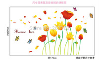 High quality ! Tulips Butterfly 170*110cm DIY Removable Art Vinyl Wall Stickers Decor Mural Decal AM7039