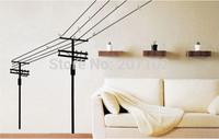 QZ115 Free Shipping 1Pcs Birds Singing On Telegraph Pole Beadroom Living Room Decoration Removable PVC Wall Sticker