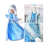 2014 Hot Frozen Dress Elsa&Anna Fantasia Dress With Hat For Girl Kids, Elsa Princess Dresses Brand Girls Dress Children Clothing