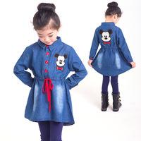 2014 Real Vestidos Infantis Vestido Infantil Girls Mickey Cowboy Dress In New Autumn Long Sleeved Cartoon For Children's Wear