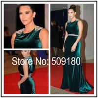 High quality Green Velvet Sleeveless Floor Length Custom Made Formal Celebrity Dress Design JO9971 kim kardashian costume