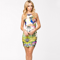 2014 Fashion Design Charm European Style Women Slim Print Floral Dresses Summer Sexy Bodycon Tunic Dress CX655732