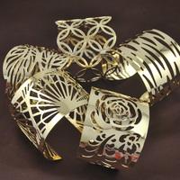 18K Gold GP Color Leaves Lace bracelets  golden plated cuff Art Floral Bangle Love for Women