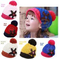 New Autumn winter Children's Caps Fashion Warm Knitted Wool Baby Starfish Beanie Children's Winter Hats Girls Hat SJY203