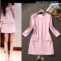 Free Shipping autumn new three quarter sleeve elegant brief style A line pink dress