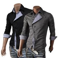 New 2014 Fall Winter Men Shirts leisure Slim Fashion Plaid Stitching Design Men lapel Shirt Free Shipping Promotions Black /Gray