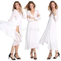 New Summer Sexy Women Wedding Brides Dress Maid Maxi Cocktail Dress Long Ball Gown Dress White M/L/XL
