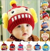 New Winter 3D Children's Knitted Hats Boys Caps For Children Accessories Woolen Baby Girls Hat Beanie Infant Robot Cap SJY206