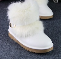 2015 Hot fashion winter short snow boots artificial fox rabbit fur shoes leather boots High quality flat ladies shoes