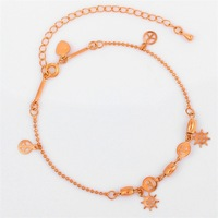 Wholesale Womens 18K Rose Pink Gold Plated Smile Face Round Charms Bead Link Chain Anklet Bracelet  Hot Gift Fashion Jewelry