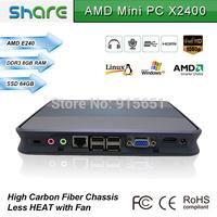 wall-mounted mini pc X2400 8GB RAM + 64GB SSD dual core 1.5GHz processor,full hd media player