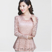 Free Shipping 2014 fall new Korean long-sleeved lace shirt , Brand Cutout Maxi Size lace Blouses S M L XL XXL XXXL
