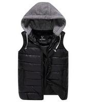 L-3XL Plus Size Winter Men Vest Coats Removable Knitting Hat Diamond Lattice Korean Couples Cotton Vests Sleeveless Down AHZ853