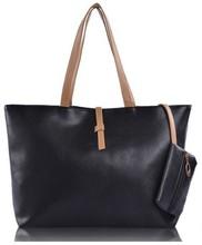 envío gratuito nueva marca de moda mujer bolso de cuero con cremallera pu mujeres mensajero bolsas bolsa de hombro negro(China (Mainland))