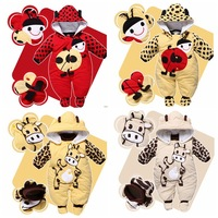 2014 Cartoon animal style newborn cotton-padded baby's rompers Ladybug and cows wram autumn and winter clothing jumpsuit