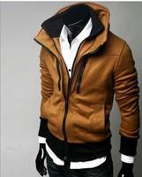 4 Color winter Camel double layer collar villus thickening man warm sweatshirt male zipper  cotton man hoody