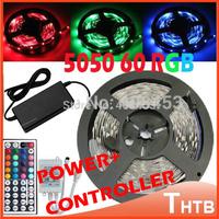 RGB LED Strip Light 5050 300SMD Ribbon 5M 60led/m 300Leds+44keys IR Remote Control +12V 6A Power Adapter