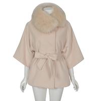 2014 New Winter Women Korean version of the lovely ladies loose detachable fur collar woolen coat, Fashion outwear