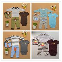 Carters Baby's Sets 2 Bodysuits + Pants + Bib 4pcs Baby Clothing Sets Cotton Clothes Sets Conjuntos Baby Boy Clothing Set