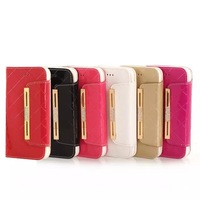 plaid leather phone sets  for iphone6  Multi-function fashion smooth bright leather wallet card package