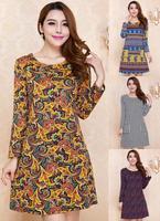 Wholesale women dresses 4XL plus size women clothing 2014 autumn and winter Yellow ladies dress Casual dress print green Lady