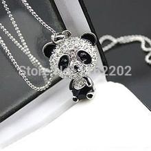 Fashion Panda With Rhinestone Necklace Panda Sweater Chain(China (Mainland))