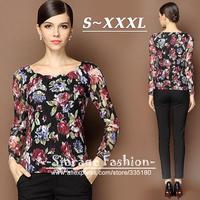 S-XXL Brand Elegant Floral Print Hollow Lace Long Sleeve Casual Blouses Ladies Tops Shirts Autumn Big Size Women Clothes 8210