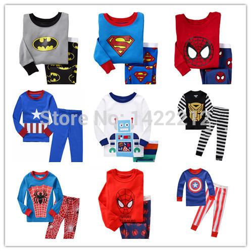 2015 new 2014 hot Kids Pajama Sets Clothes boys girls sleepwear pyjamas Spider-Man Batman superman t shirt pants children 02(China (Mainland))