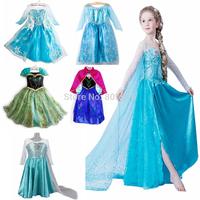 10 designs 2014 new frozen dress, summer frozen princess gauze dress, Animated cartoon dress, Girls long-sleeved frozen dress.