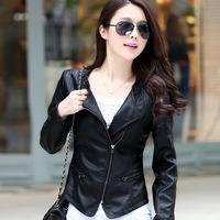 2014 Autumn Pu Plus Size Spliced jaquetas Zipper Fringe Ladies' Motorcycle Bomber Jackets Women' Faux Leather Slim Coats GH004