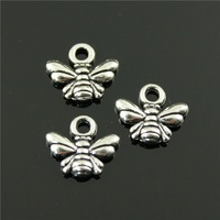 100pcs/lot 10*11mm antique bronze, antique silver plated tiny bee charms