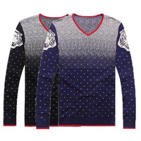 Snow Print Man Fashion Warm Sweaters Size M-2XL V-Neck Long Sleeve Clothing 2014 Elastic Men Casual Knitted Pullovers