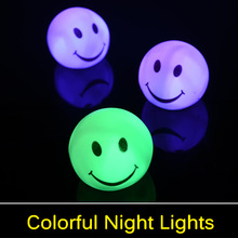 Lovely changable color Round Smile Face LED night light lamp, 7 colors changing Smiling nightlight For Baby / Children gift toy(China (Mainland))