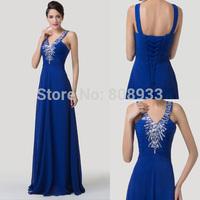 New Cheap Elegant Sexy Deep V Neck Quality Royal Blue Evening Dresses Long Chiffon Dance Party Dresses Lace Up Prom Dress CL6197