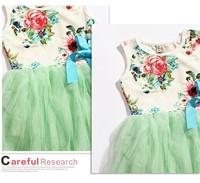 Baby dress girl dress flower girl dress lovely dress style 2014 new children's clothing flowers sleeveless summer dress bow