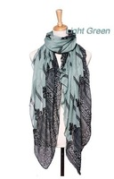 Voile Lace Print Long Scarf Women Blue And White Ladies Shawl 2014 Fall Fashion Scarves