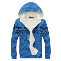 2014 new winter plus thick velvet hooded cardigan sweater coat thick coat tide men's men's casual sports jacket shipping