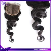 """6A Brazilian loose wave Top lace closure 4x4"""" 120% density Free parted Swiss lace closure Brazilian virgin hair bundles Color 1b"""