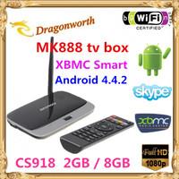10pcs Quad core Android 4.4 TV Box CS918 MK888 2GB RAM 8G ROM Bluetooth XBMC Fully Loaded Free WIFI 1080P video smart google tv